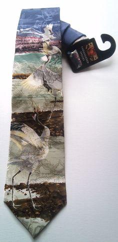 "Endangered Species ""Thacho"" O.J.Gromme art, Crane, Vintage Mens Silk Necktie, New old stock, Novelty Tie by AArchanaAndCo on Etsy"