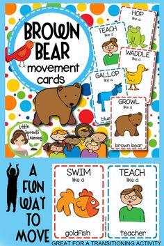 Summer Movement Cards (Transition Activity or Brain Breaks) Bear Activities Preschool, Bear Theme Preschool, Preschool Colors, Gross Motor Activities, Preschool Curriculum, Preschool Lessons, Preschool Learning, Brown Bear Activities, Music Activities