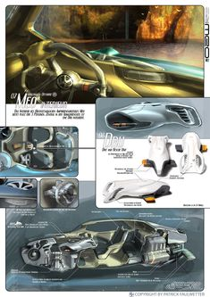 Vehicle Art by Patrick Faulwetter (Meo) Car Interior Sketch, Interior Design Sketches, Car Design Sketch, Layout Design, Ecole Design, Mexico 2018, Presentation Design, Presentation Boards, Futuristic Art