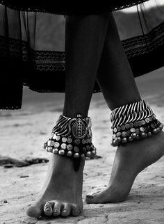 Indian antique silver anklets.