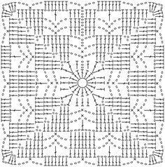 Crochet Edging Patterns, Crochet Blocks, Granny Square Crochet Pattern, Crochet Squares, Crochet Granny, Crochet Motif, Filet Crochet, Crochet Chart, Crochet Tablecloth