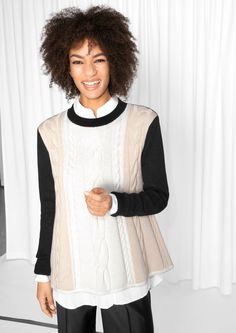 & Other Stories image 2 of Braided A-line Jumper  in Black/White/Beige