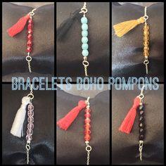 Bracelets pompons et barrette perles à facette 4mm..   http://www.alittlemarket.com/boutique/maps_creation-2284207.html