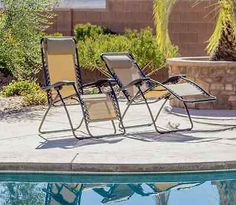 Pool Lounge Chairs Set of 2 Patio Furniture Deck Reclining Anti Gravity Camping