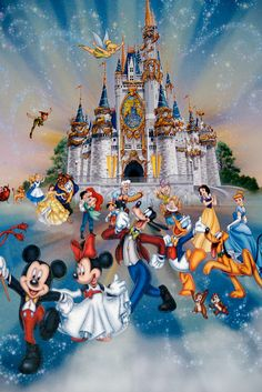 I love this picture of the castle with all the Disney Characters.