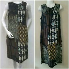 TRINA TURK SILK DRESS TRINA TURK NWT SIZE 8 BROWN BLACK AND TOUCH OF BRIGHT TEAL - SLIT IN BACK - HITS AT KNEE FOR MOST BACK ZIPPER W/BUTTON CLOSURE - FULLY LINED - 100% SILK Trina Turk Dresses