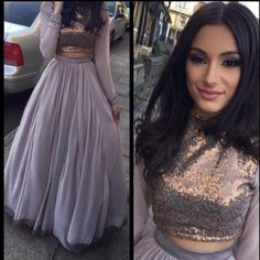 Purple Chiffon 2016 Two Pieces Prom Dresses With Long Sleeves Saudi Arabic Crop Top High Neck Formal Party Gowns Evening Dresses Inexpensive Plus Size Prom Dresses Make Your Own Prom Dress From Weddingdressseller, $112.05| Dhgate.Com