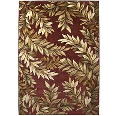 allen   roth Breezy Rectangular Red Floral Woven Area Rug (Common: 8-ft x 11-ft; Actual: 7.83-ft x 10.83-ft)