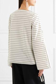 Tibi - Striped Cotton-poplin Top - Ivory - US10