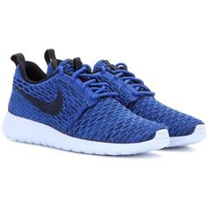 Nike Nike Rosherun Flyknit Sneakers ($140) ❤ liked on Polyvore featuring shoes, sneakers, trainers, blue, nike sneakers, nike, nike footwear, nike trainers and blue sneakers