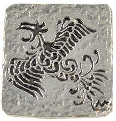 Phoenix coin - $8.06  A pewter coin showing a South American styled Phoenix and filled with black enamel on both sides.