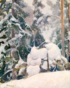 """Strength Through Whimsy — """"Winter Landscape"""" by Pekka Halonen. Romanticism Paintings, Nature Paintings, Landscape Paintings, Landscapes, Snowy Trees, Winter Trees, Google Art Project, Snow Art, Russian Painting"""