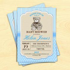 Teddy Bear Boy Baby Shower Invitation / by TheStarDustFactory