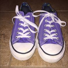 Purple converse Purple converse with print on inside. Hardly worn! Converse Shoes