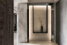 Sequestered Reality by Ris Interior Design - MyHouseIdea Design Hall, Altar Design, Lobby Design, Entrance Design, Entrance Foyer, Interior Design Minimalist, Luxury Interior Design, Lobby Interior, Apartment Interior