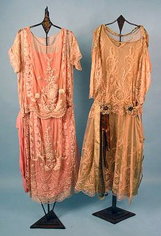 "Two Lace Dresses, c. 1925.  you can almost feel how free you'd have felt wearing these after being ""laced"" into earlier gowns"