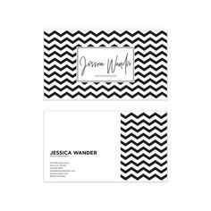 Black & White Chevron Business Card Design  Striped by VisualPixie