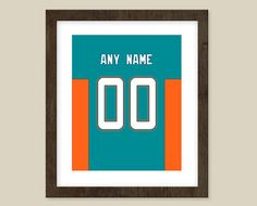 Miami Dolphins print  Jersey Design   by CSportImages on Etsy