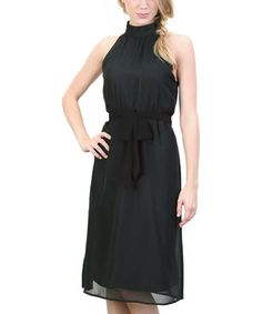 Another great find on #zulily! Black Chiffon Maryse Tie-Waist Dress #zulilyfinds