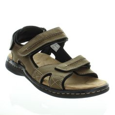 This casual sandal from Dockers has easy, fresh style. Newpage features tumbled leather uppers and three hook and loop closures at the heel, ankle and the toe. The soft textile lining adds to the wearability.