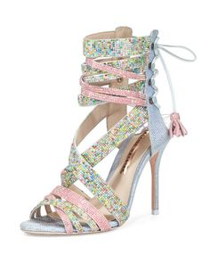 Sophia Webster Lace Up Open Toe Sandal in Light Pink and Blue at Neiman Marcus NMS16_X31QG