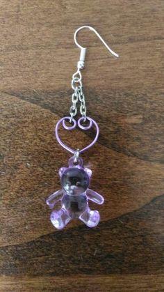 #orecchini #handmade #jewelry #wire #viola #violet #orsacchiotti #bear #teddy #orsi #cuori #hearts