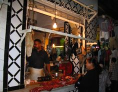 The souq was crowded and messy in a nice sort of way; everywhere men were busy with the delicate work of sewing the beautiful jabalas for women or spinning colorful thread, just next to the camel butcher or the olive shop!  ~ Morocco: the sheltering sky - ADVrider