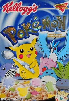 All about Pokemon Cereal from Kellogg's - pictures and information including commercials and cereal boxes if available. You can vote for Pokemon or leave a comment. Oat Cereal, Breakfast Cereal, Cereal Boxes, Crunch Cereal, Types Of Cereal, Cornflakes, Childhood Memories 90s, Cereal Killer, Retro Advertising