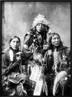 Portrait of three young Sioux men. Left to right; Poor Elk, Shout For and Eagle Shirt. Native American Images, American Indian Art, Native American Tribes, Native American History, American Indians, Native American Cherokee, American Crafts, Sioux Nation, Sioux Tribe