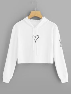 - ROMWE White Drawstring Letter Print Crop Hoodie Women Casual 2018 Autumn Hooded …- Source by jimeillasc - Girls Fashion Clothes, Teen Fashion Outfits, Outfits For Teens, Emo Fashion, Summer Outfits, Cute Sweatshirts For Girls, Stylish Hoodies, Cute Girl Outfits, Cute Casual Outfits