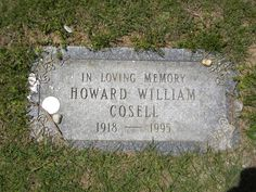 "Howard Cosell (1918 - 1995)Television Sportscaster. He gained wide fame and acclaim during his tenure as a football commentator on ABC's ""Monday Night Football""."