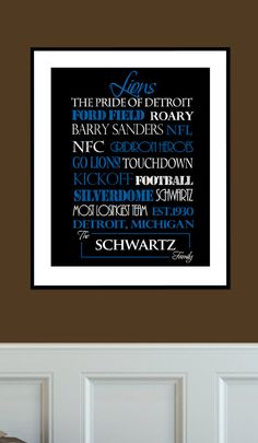 Detroit Lions Print #detroit lions Personalized with your family name!