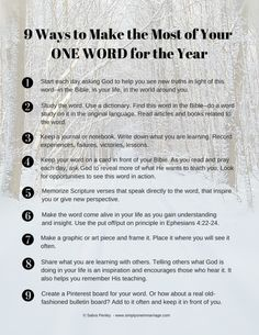 9 Ways to Make the Most of Your ONE WORD for the Year | simplyoineinmarriage.com