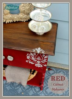 ART IS BEAUTY: Rescued Cabinet DIVA RED Makeover Its HERE Its HERE..Themed Furniture day is finally HERE! Come see all the latest themed makeovers including MINE Rescued Cabinet turned RED DIVA! http://arttisbeauty.blogspot.com/2014/11/rescued-cabinet-diva-red-makeover.html #paintedfurniture