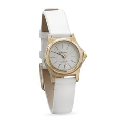 Fashion Watch with Narrow White Leather Band