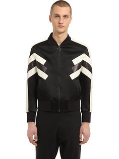 NEIL BARRETT Patchwork Nylon & Leather Jacket, Black/White. #neilbarrett #cloth #casual jackets