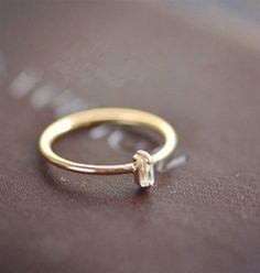 Stacking Ring, Gold Stacking Ring, Stackable Ring, Thin Ring in Rose Gold, Shiny Ring, 18k Gold Gemstone Ring, Hammered Ring,Birthstone Ring...