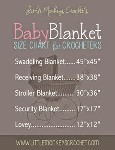 Baby Blanket Size Chart - PRINT THIS