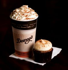 Dewey's Pumpkin Spice Latte with a Pumpkin Spice Cupcake...the perfect fall combo!