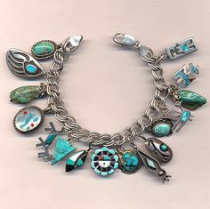 Turquoise Soul  . . .                    Vintage Native American Charm Bracelet Sterling Silver Turquoise