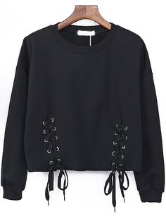 Black Round Neck Lace Up Sweatshirt ,High Quality Guarantee with Low Price!