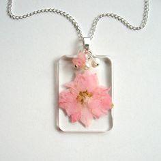 Pink Larkspur  Real Flower Garden Necklace   by enchantedplanet - Real Pressed Flower #NatureInspired - found at @onfire4handmade