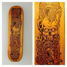 More Decoration : http://www.kadinika.com Trampo feito em um shap de skate marca: BLACK LABEL madeira MAPLE tamanho 8.25 - medidas em cm 22x82. PEÇA DECORATIVA  #precosobconsulta  #igoazevedo #skate #blacklabel #dragon #skull  #igersnatal #finework #personalize  #arte #brasil  #designer  #decoracaodeinteriores #piro #pirogravura #pirografia #decoration #handwork #fire  #art #woodworking #wood  #instaart #instaartist #igoazevedo #pyrographyart  #pyrography  #woodburning #woodburn #pirogravure…