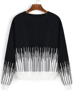 Black White Round Neck Vertical Stripe Sweatshirt 16.82