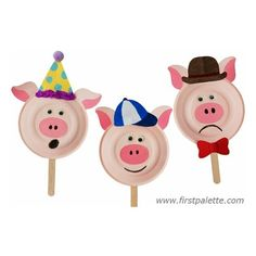 Three Little Pigs Paper Plate Masks. kids can decorate them & then use them during story time. Paper Plate Masks, Paper Plate Art, Paper Plate Animals, Paper Plate Crafts, Paper Plates, Animal Crafts For Kids, Fun Crafts For Kids, Projects For Kids, Art For Kids