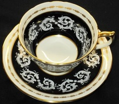 Aynsley England Texture White Gold Black Footed Tea Cup and Saucer - love this one!