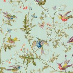 Behang Ivoor Kleurige Achtergrond Met Vogeltjes En Bloemen Behang Roze Pinterest Met And