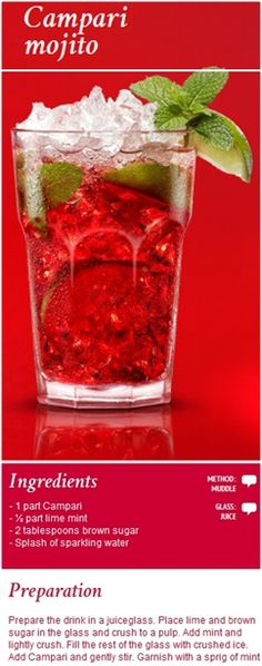 #Campari #Mojito. The distinctive and intriguing new cocktail that makes a splash on any occasion. Click the image to view the video on how to make it!