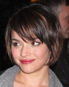 Side Swept Bangs Bob Haircut for Mid-lenth Ombre Hair
