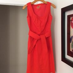 Tory Burch Sleeveless Tie Waist Dress, Size 0 Tory Burch Sleeveless Tie Waist Dress, Size 0. Bright orange/orange-red in color. Vibrant for Spring. Detached matching belt included. Hits right at knee or just above. Tory Burch Dresses
